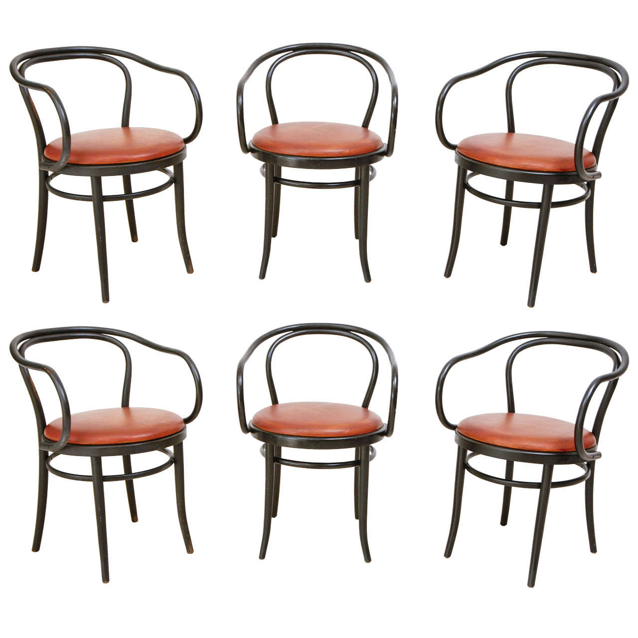Set Of 6 Matte Black And Custom Leather Thonet Chairs 1