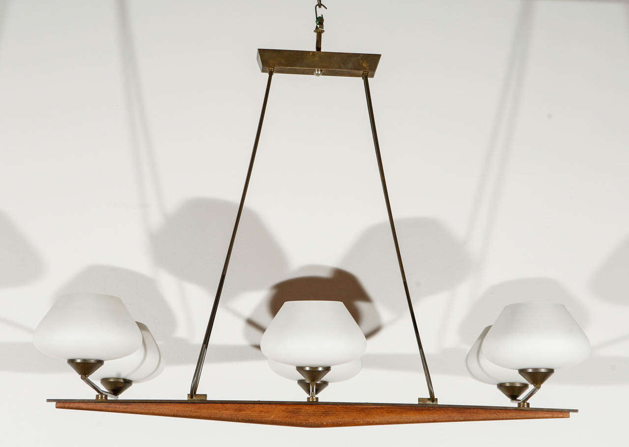 Mid-Century Danish fixture; newly wired with six candelabra sockets, each socket can take a 75 watt bulb.