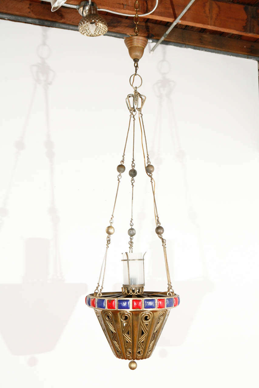 American brass fixture with enameled details; newly wired for a standard bulb.