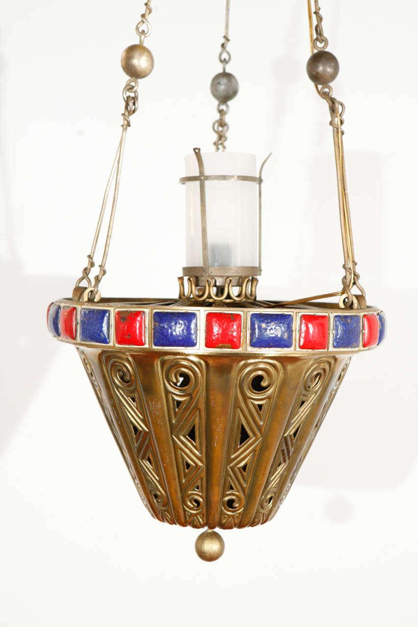 American Brass Pendant For Sale