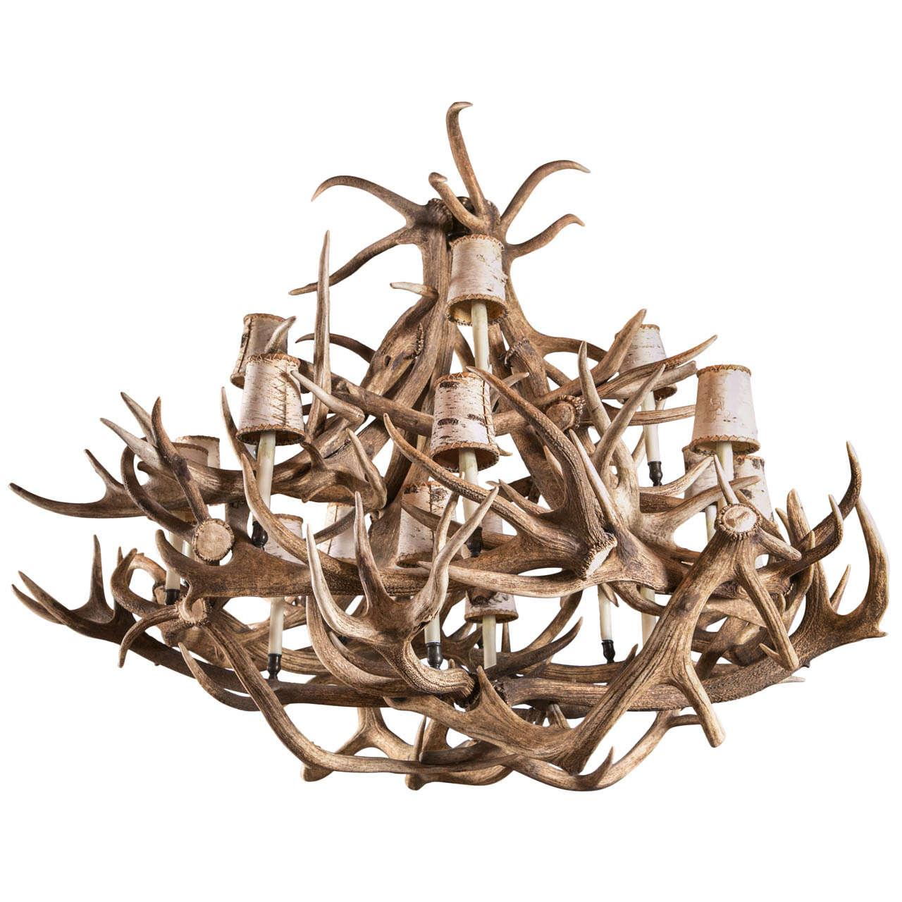 Eighteen Light Elk Antler Chandelier For Sale At 1stdibs