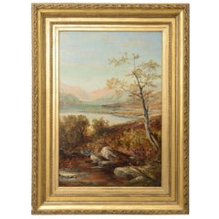 "Oil Painting Titled ""Loch Tyt N. B."":  Scotland, England, Thomas Hines, 19th C."
