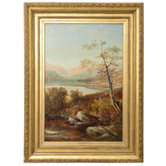 "Oil Painting Titled ""Loch Tyt N. B."":  Scotland, England, Thomas Hines, 19th C."