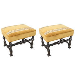 Pair of Rectangular,19th Century Italian Stools, with Gold Velvet and Embroidery