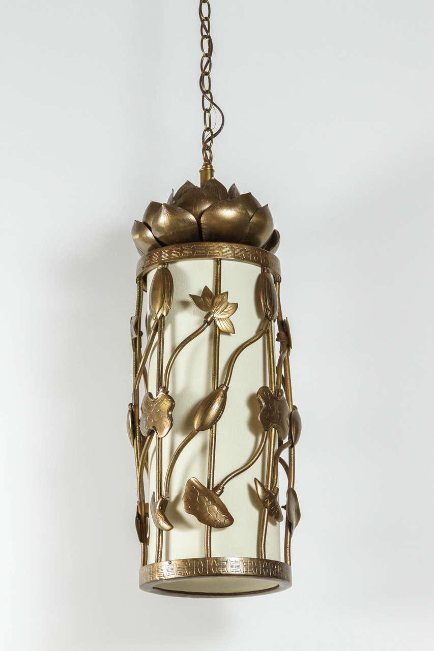 Mid-Century Modern Brass Lotus Pendant For Sale
