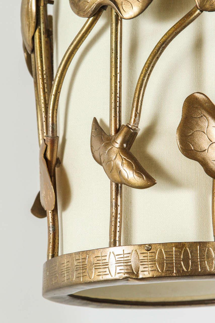 American Brass Lotus Pendant For Sale