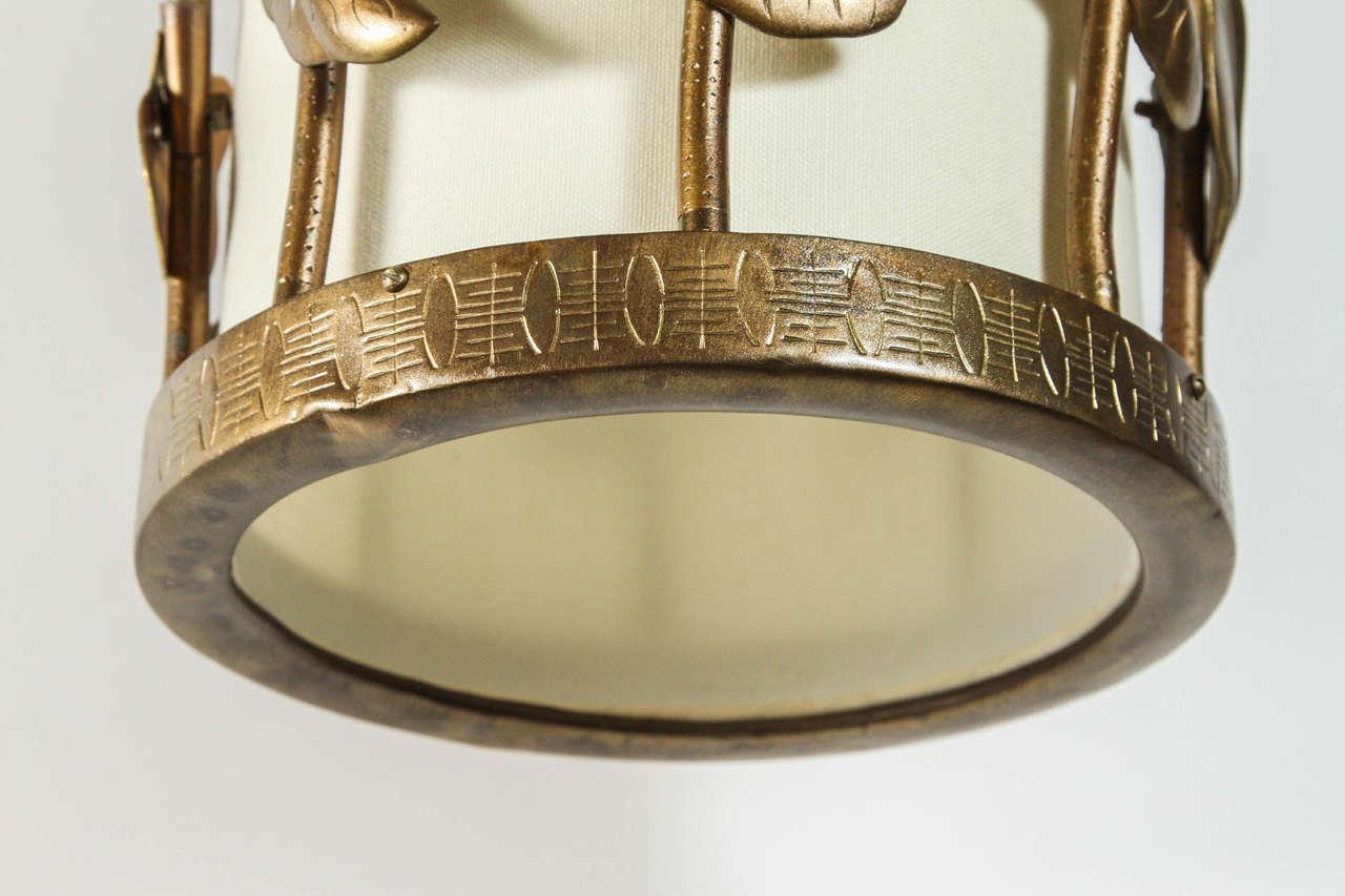 20th Century Brass Lotus Pendant For Sale
