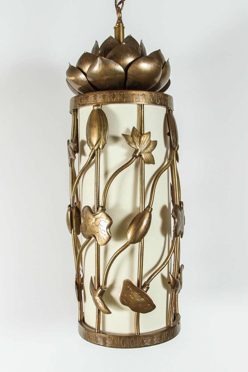 Brass Lotus Pendant For Sale 2