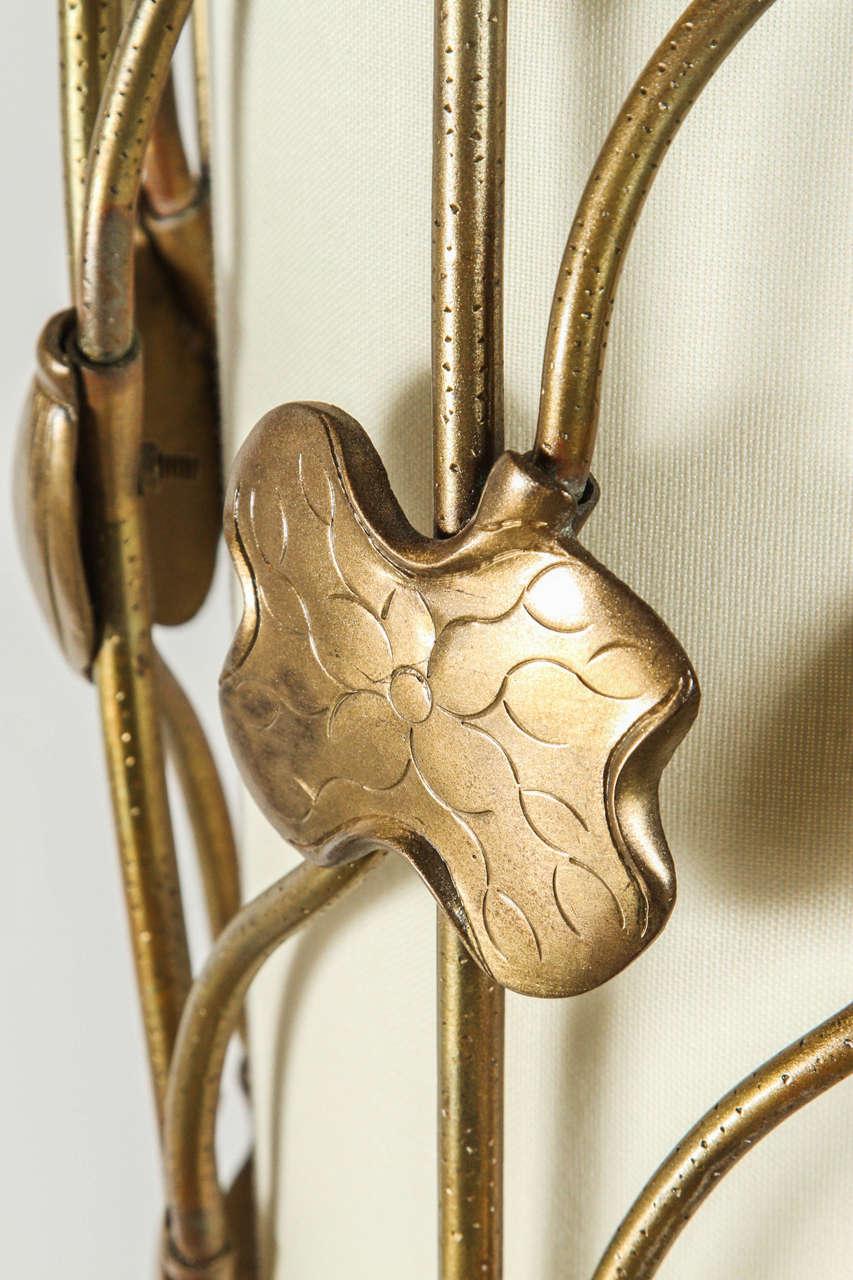 Brass Lotus Pendant For Sale 4
