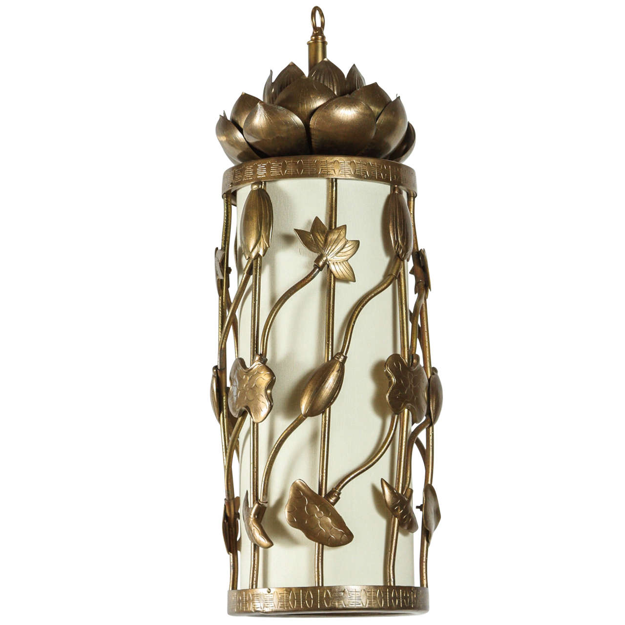 Brass Lotus Pendant For Sale