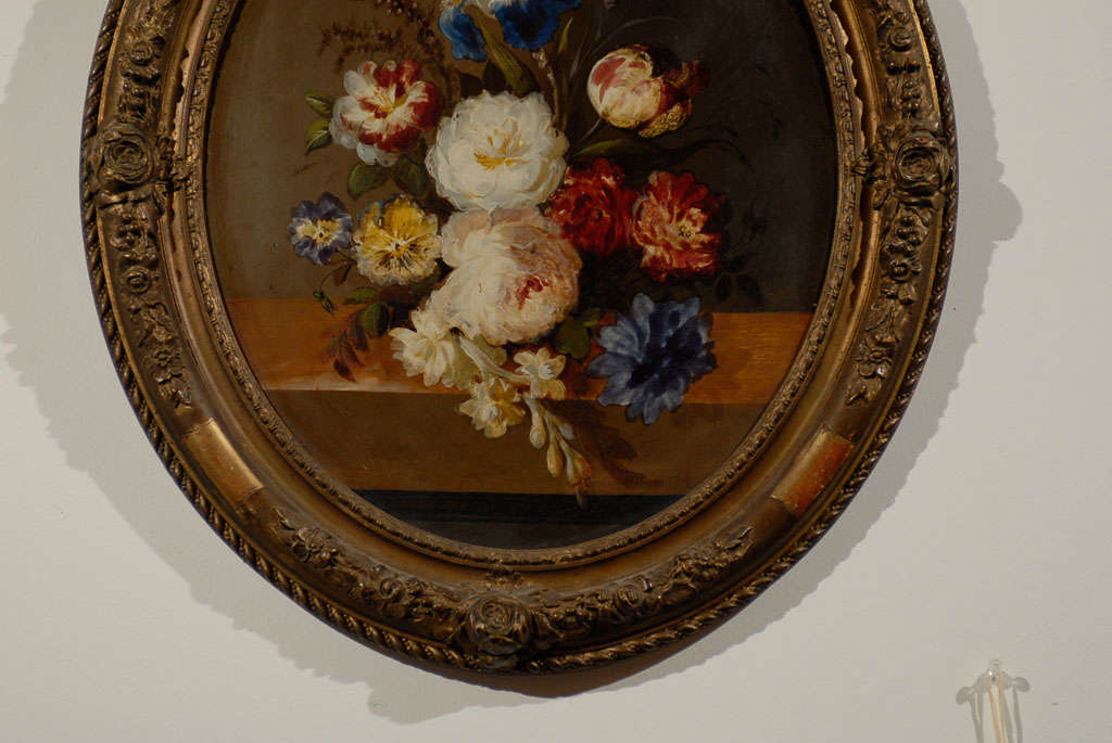 Oval French Oil Painting of Tulips, Roses and Iris in a Gilt Frame 3