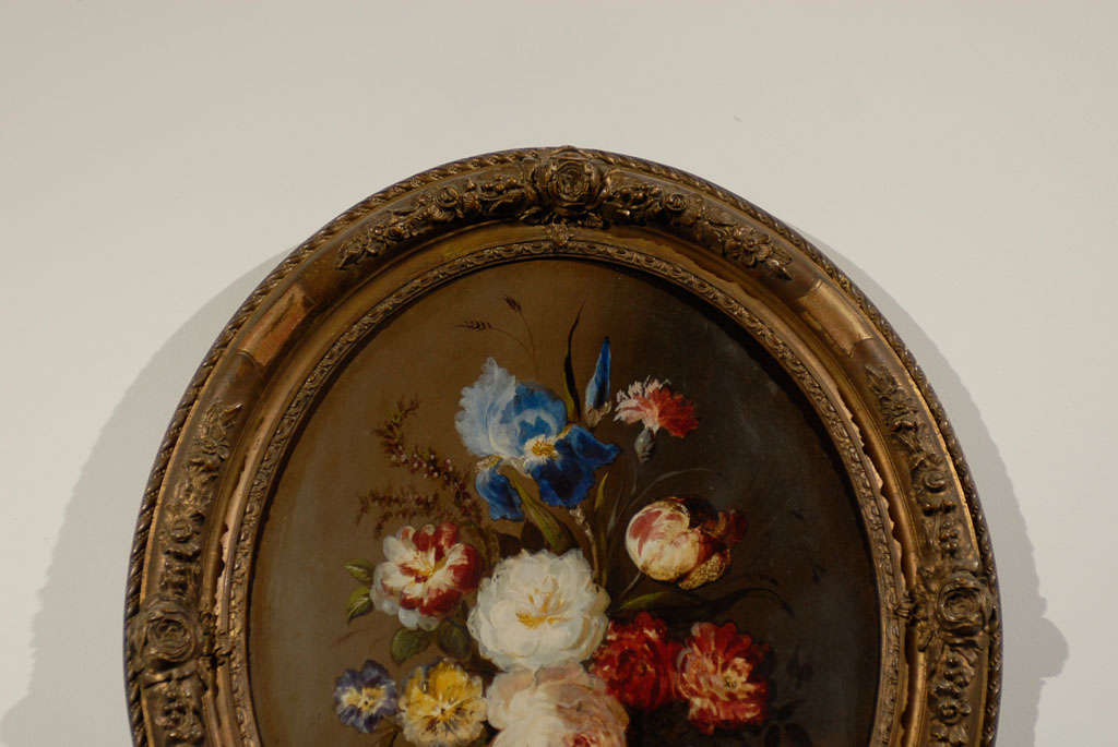 Oval French Oil Painting of Tulips, Roses and Iris in a Gilt Frame 4