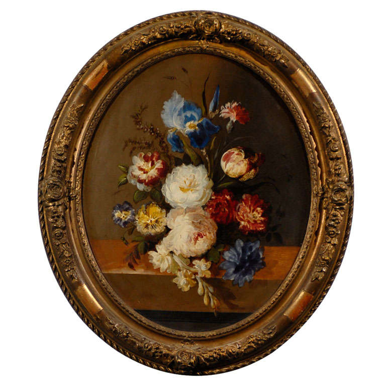 Oval French Oil Painting of Tulips, Roses and Iris in a Gilt Frame 1