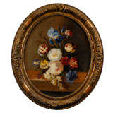 French Oval Floral Painting with Tulips, Roses and Irises in Gilt Frame