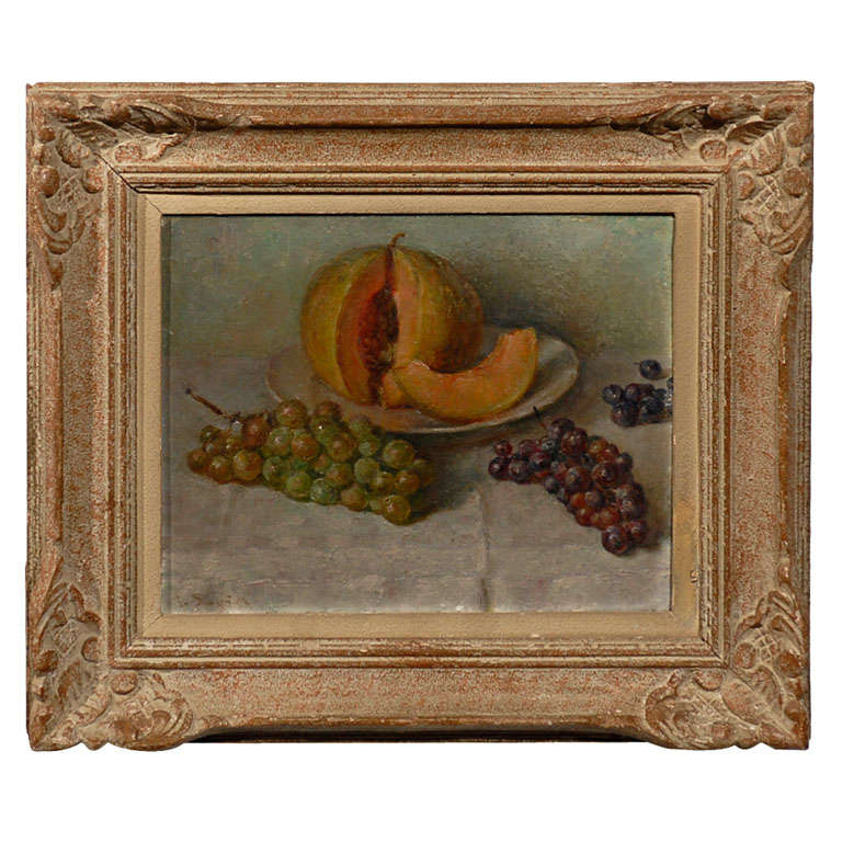 19th Century Framed Oil Painting of Fruit and Melon For Sale at 1stdibs