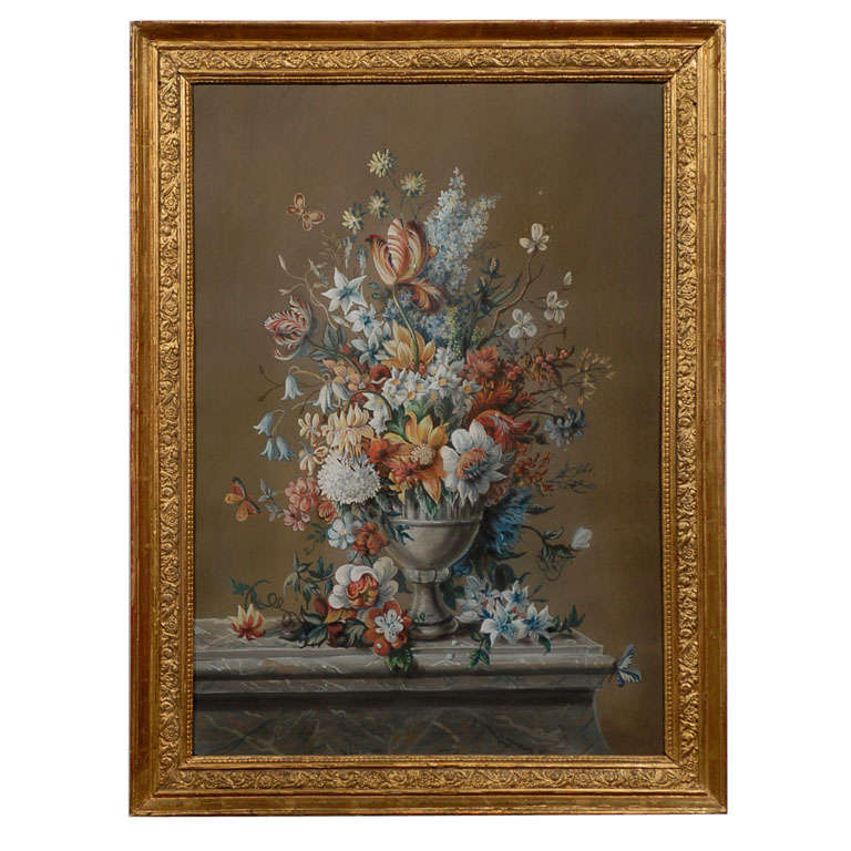 French Empire Period Pastel and Gouache Painting, circa 1810 in Giltwood Frame