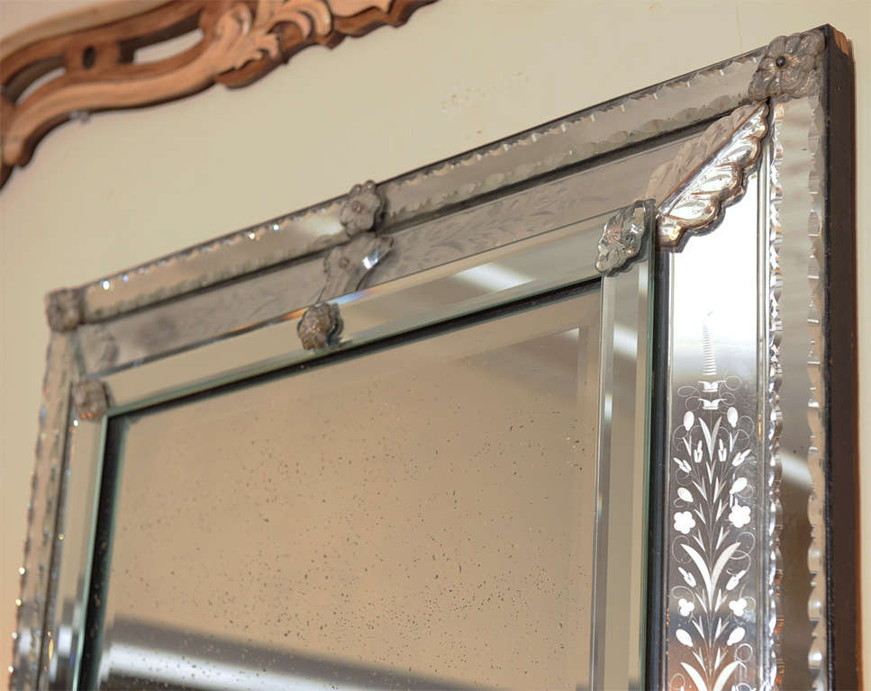 venetian etched glass mirror frame at 1stdibs
