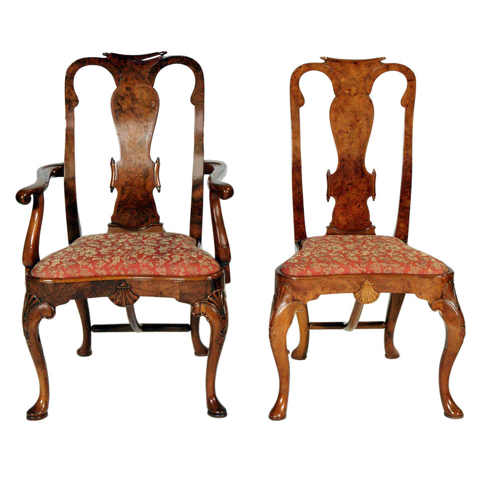 an exceptional set of 14 queen anne walnut dining chairs at 1stdibs