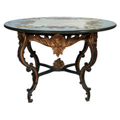 A Bronze Rococo Style Base Table With A Painted Stone Top