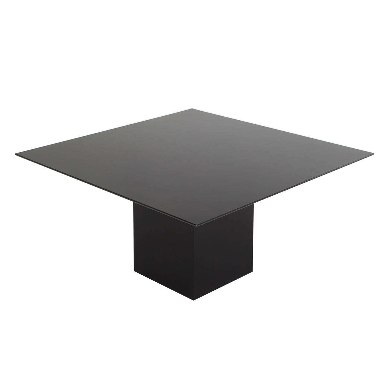 Wonderful Black Lacquered Square Rosenthal Pedestal Table 1