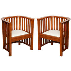 Pair of 20th Century Cherrywood Slatted Chairs