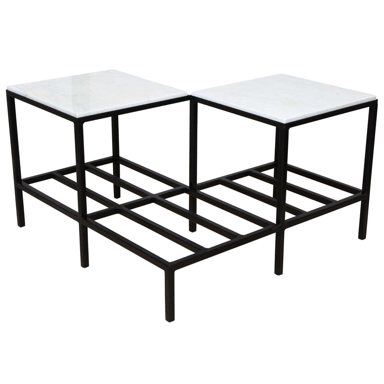 Mid Century Square Steel Coffee Table With Black Marble: Mid-Century 2 Tier Iron Cocktail Table With White Marble