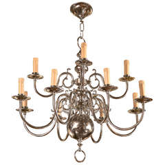 Nickel-Plated Brass Chandelier