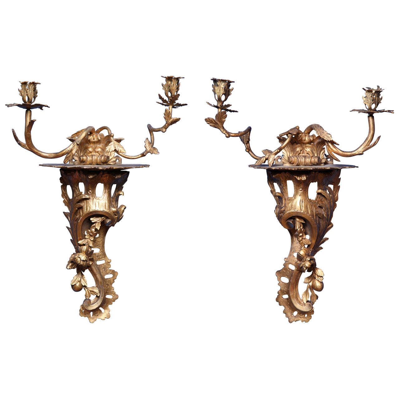 Pair of chippendale period carved rococo giltwood wall lights circa pair of chippendale period carved rococo giltwood wall lights circa 1755 for sale aloadofball Gallery