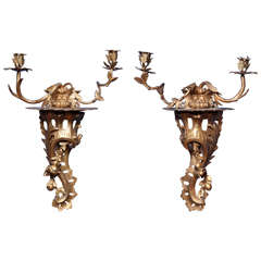 Pair of Chippendale Period Carved Rococo Giltwood Wall Lights circa 1755