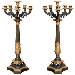 Pair of Charles X Ormolu and Bronze Columnar Candelabra, French, circa 1825