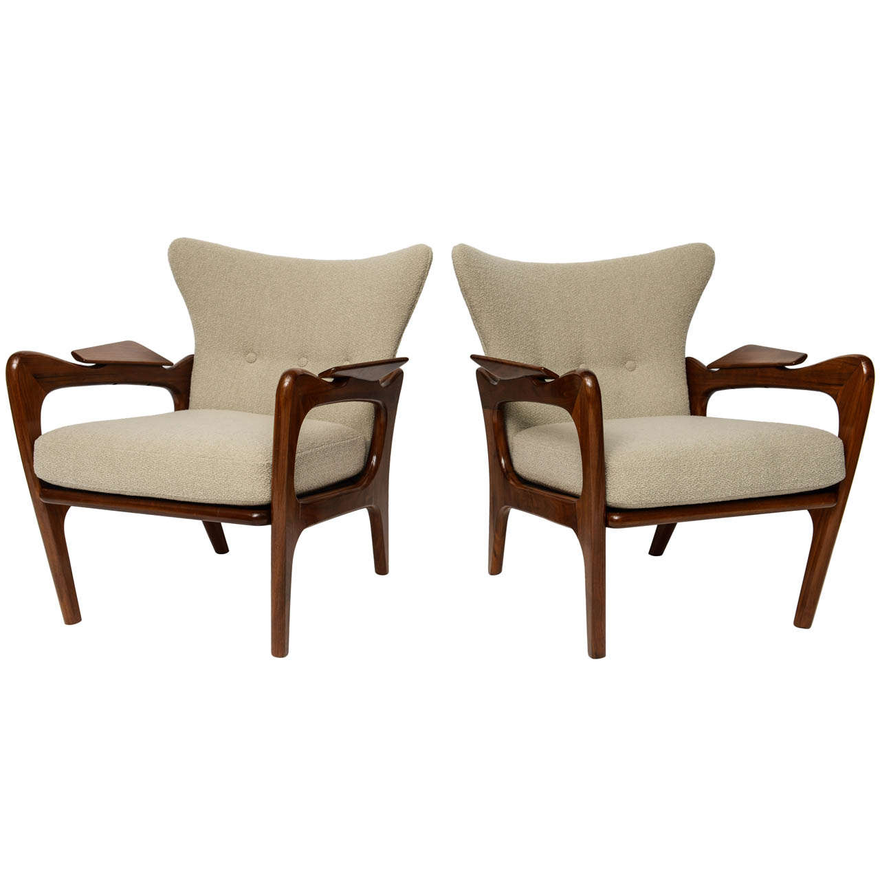 Pair Of Low Wing Back Lounge Chairs By Adrian Pearsall At
