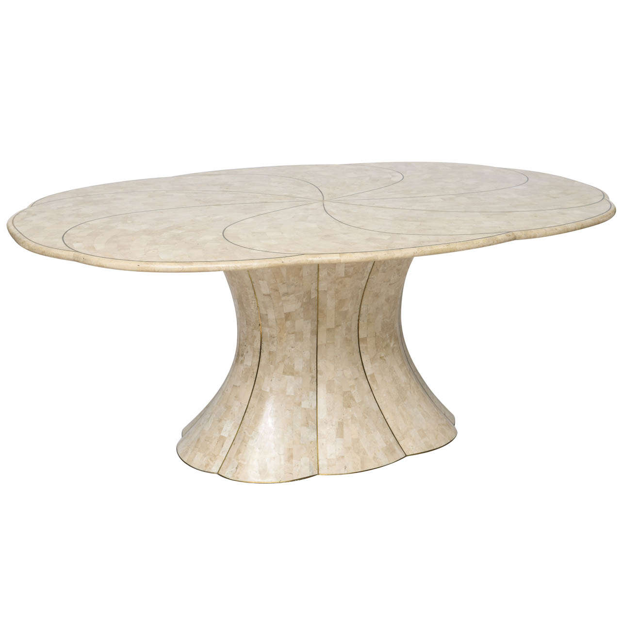 Perfect Maitland Smith Tessellated Stone Dining Table With Brass Inlays 1