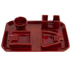 """Gio Ponti Desk set Majolica """"Rosso gran fuoco """" Manufacture Ginori 1930's"""