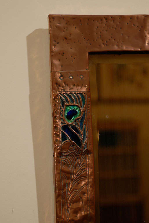 English Copper And Enamel Mirror With Peacock Feather