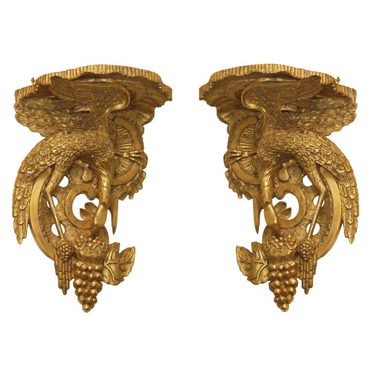Pair Of 19th Century   Giltwood Wall Brackets