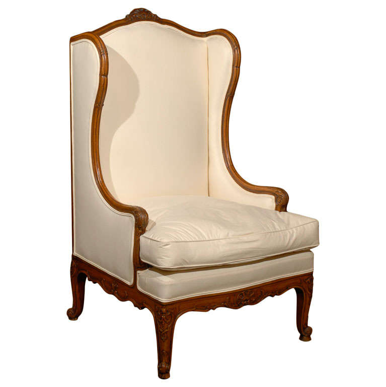 French Louis XV Style Walnut Wingback Bergère Chair from the 19th Century