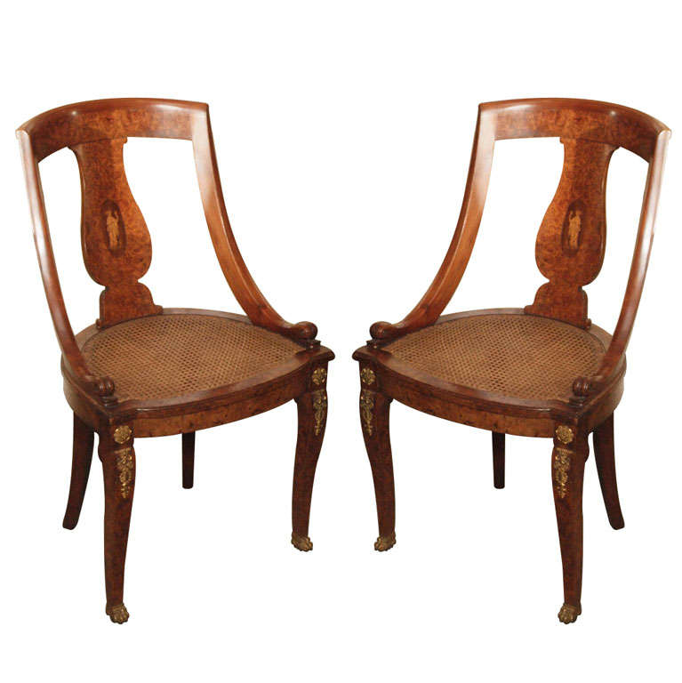 (N 4418) Antique French Charles X burled olive wood chair at 1stdibs