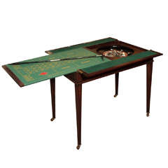 Antique English Mahogany Gentleman's Roulette Games Table