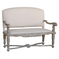 Italian 19th Century Upholstered Painted Wood Settee with Scroll Arms