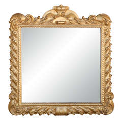 Italian 19th Century Gilded Mirror with Crown Carving