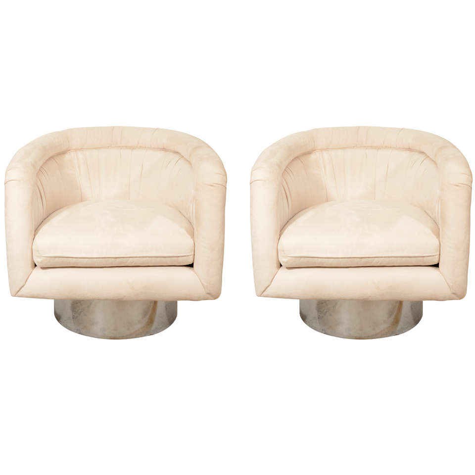 Pair of Swivel Tub Lounge Chairs by Leon Rosen for Pace Collection