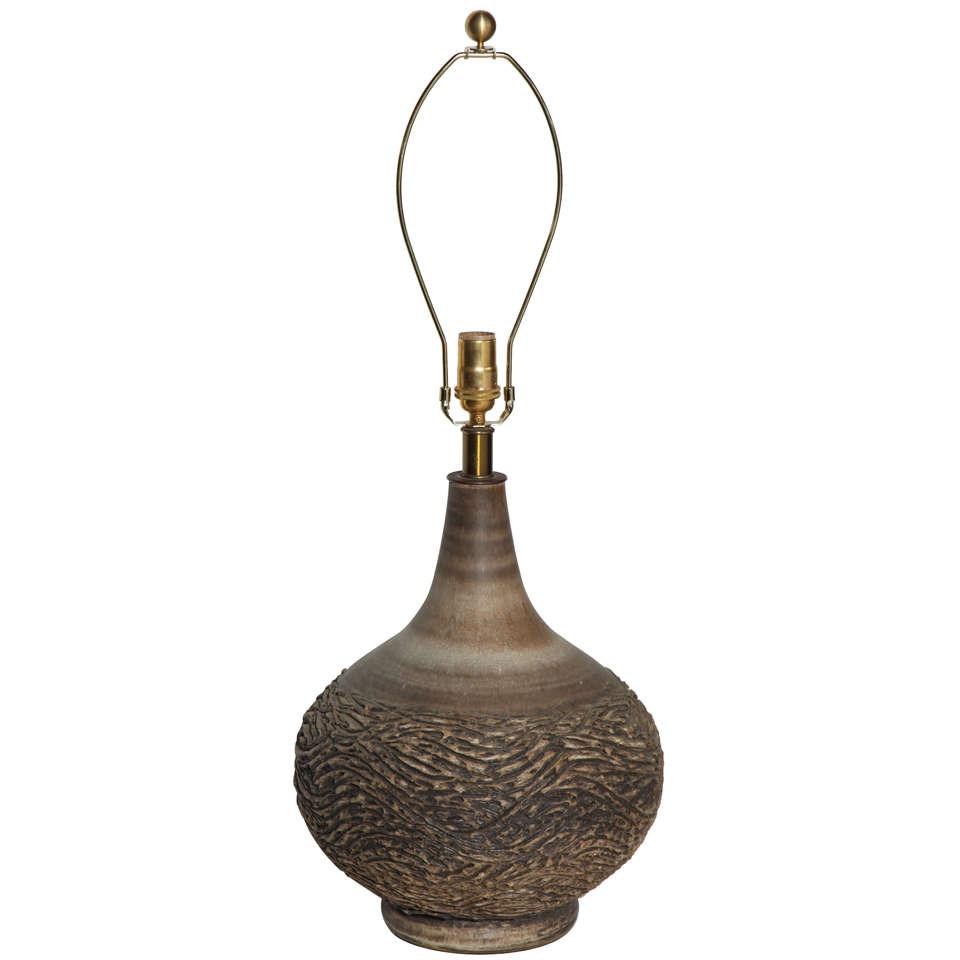 1950s Large Lee Rosen for Design Technics Textured Earthen Ceramic Table Lamp