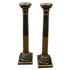 Pair of Late 19th c. Carved Painted and Gilded Wood Pedestals