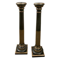 A Pair of Late 19th c. Carved ,Painted and Gilded Wood Pedestals