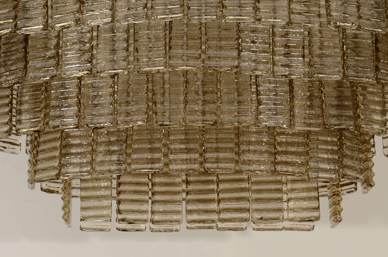 Italian Impressively Large Venini Style, Smoke Murano Glass Chandelier For Sale