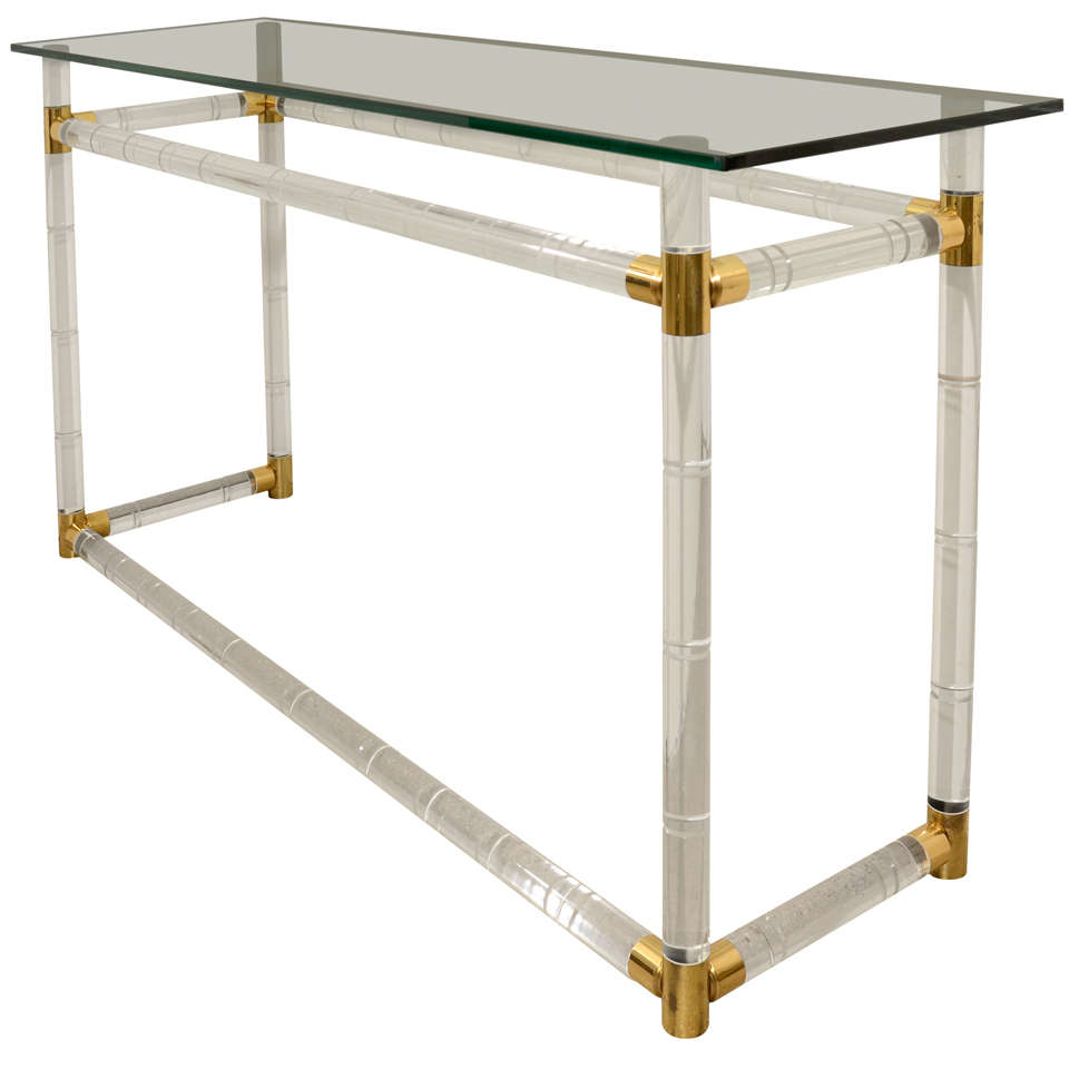 Original Lucite And Glass Console Table By Charles Hollis