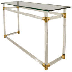 Original Lucite and Glass Console Table by Charles Hollis Jones