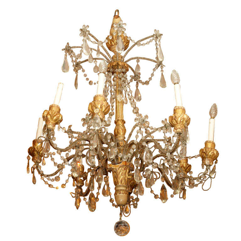Italian Giltwood Carved Chandlier