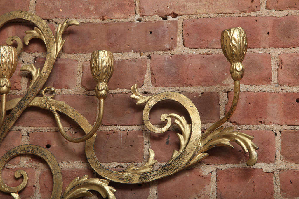 Beaux-Arts Gold French Wall Candelabra 9