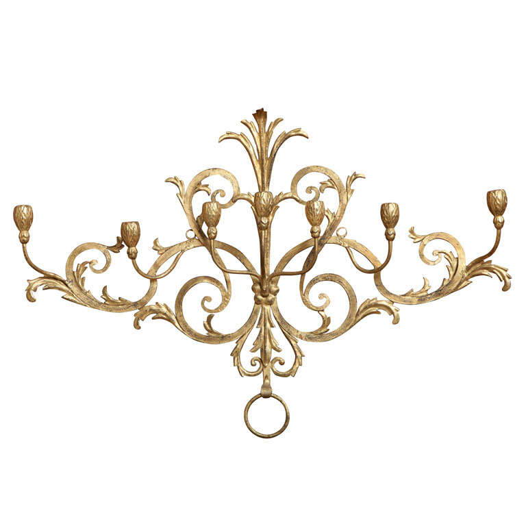 Beaux-Arts Gold French Wall Candelabra